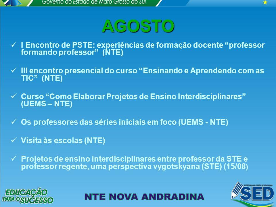 AGOSTO I Encontro de PSTE: experiências de formação docente professor formando professor (NTE) III encontro presencial do curso Ensinando e Aprendendo com as TIC (NTE) Curso Como Elaborar Projetos de Ensino Interdisciplinares (UEMS – NTE) Os professores das séries iniciais em foco (UEMS - NTE) Visita às escolas (NTE) Projetos de ensino interdisciplinares entre professor da STE e professor regente, uma perspectiva vygotskyana (STE) (15/08 )