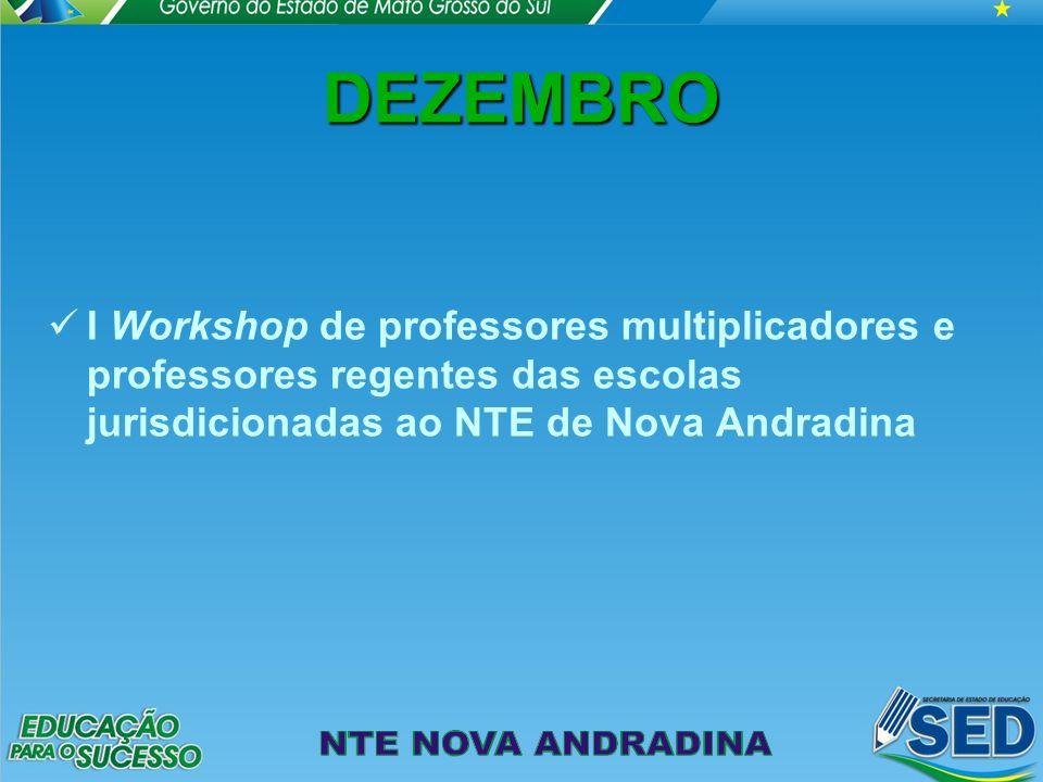 DEZEMBRO I Workshop de professores multiplicadores e professores regentes das escolas jurisdicionadas ao NTE de Nova Andradina