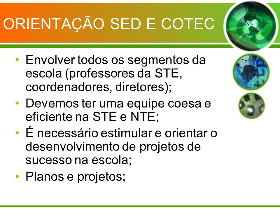 ORIENTAÇÃO SED E COTEC Envolver todos os segmentos da escola (professores da STE, coordenadores, diretores); Devemos ter uma equipe coesa e eficiente
