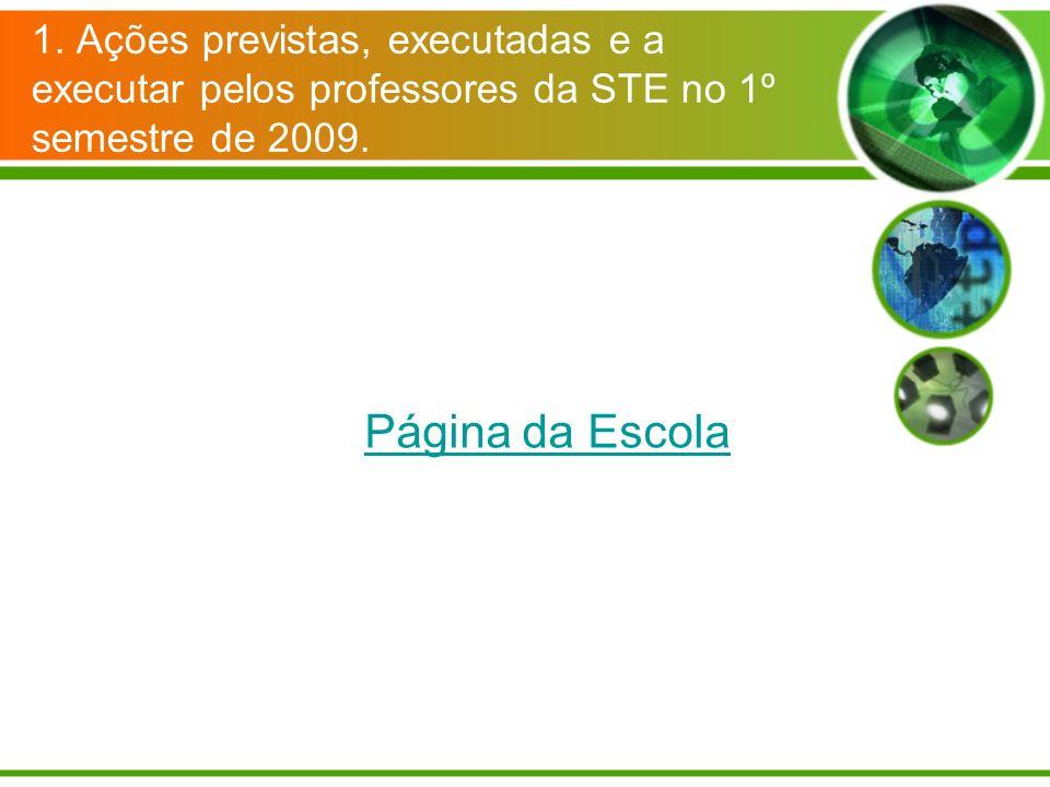 1. Ações previstas, executadas e a executar pelos professores da STE no 1º semestre de 2009. Página da Escola