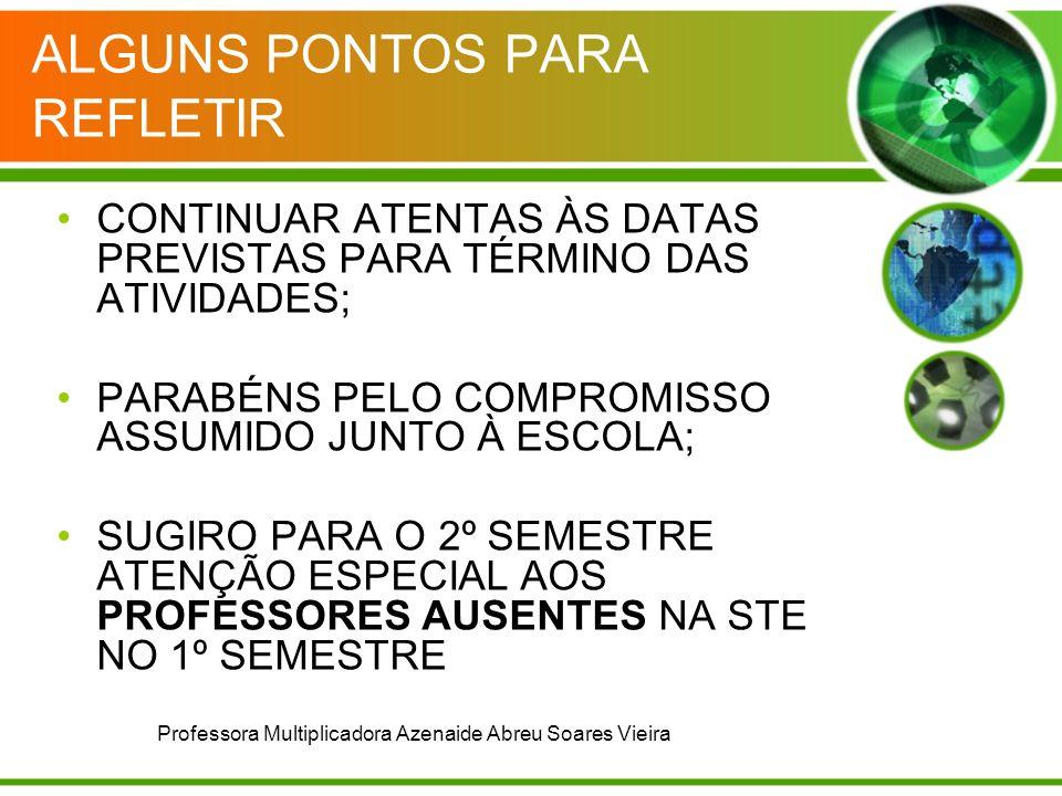ALGUNS PONTOS PARA REFLETIR CONTINUAR ATENTAS ÀS DATAS PREVISTAS PARA TÉRMINO DAS ATIVIDADES; PARABÉNS PELO COMPROMISSO ASSUMIDO JUNTO À ESCOLA; SUGIRO PARA O 2º SEMESTRE ATENÇÃO ESPECIAL AOS PROFESSORES AUSENTES NA STE NO 1º SEMESTRE Professora Multiplicadora Azenaide Abreu Soares Vieira