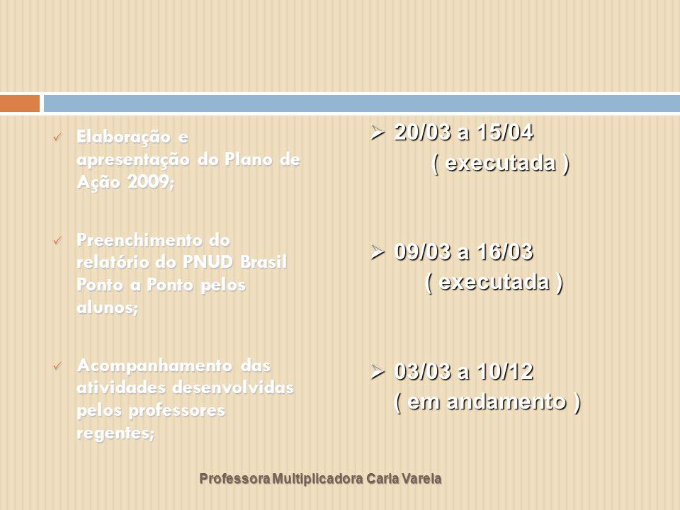 Professora Multiplicadora Carla Varela Elaboração e apresentação do Plano de Ação 2009; Elaboração e apresentação do Plano de Ação 2009; Preenchimento do relatório do PNUD Brasil Ponto a Ponto pelos alunos; Preenchimento do relatório do PNUD Brasil Ponto a Ponto pelos alunos; Acompanhamento das atividades desenvolvidas pelos professores regentes; Acompanhamento das atividades desenvolvidas pelos professores regentes; 20/03 a 15/04 20/03 a 15/04 ( executada ) ( executada ) 09/03 a 16/03 09/03 a 16/03 ( executada ) ( executada ) 03/03 a 10/12 03/03 a 10/12 ( em andamento ) ( em andamento )