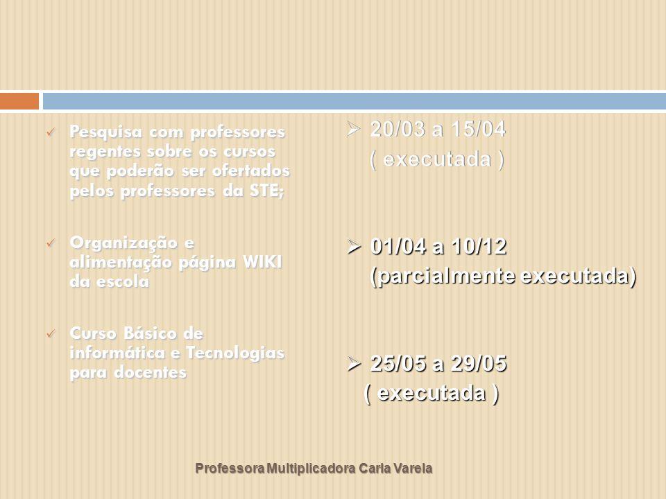 Professora Multiplicadora Carla Varela Pesquisa com professores regentes sobre os cursos que poderão ser ofertados pelos professores da STE; Pesquisa com professores regentes sobre os cursos que poderão ser ofertados pelos professores da STE; Organização e alimentação página WIKI da escola Organização e alimentação página WIKI da escola Curso Básico de informática e Tecnologias para docentes Curso Básico de informática e Tecnologias para docentes