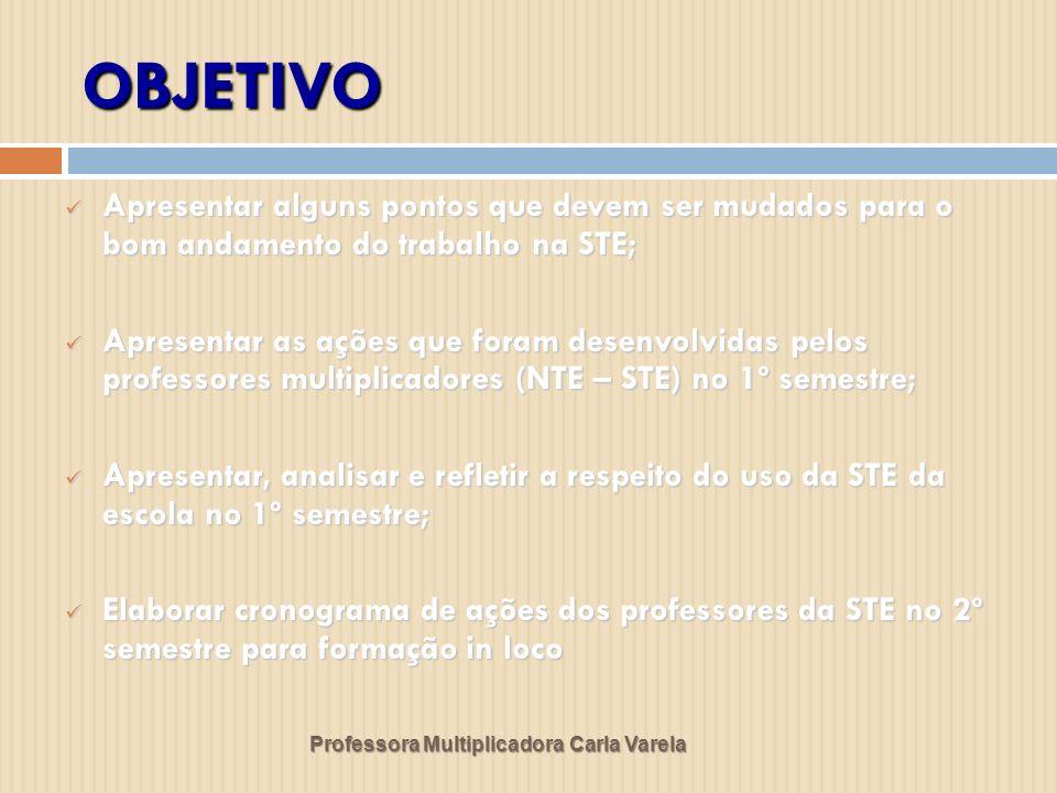 Professora Multiplicadora Carla Varela A equipe técnica e a pedagógica das unidades escolares, em especial a coordenação pedagógica, são as principais parceiras na garantia da efetiva utilização das STEs.