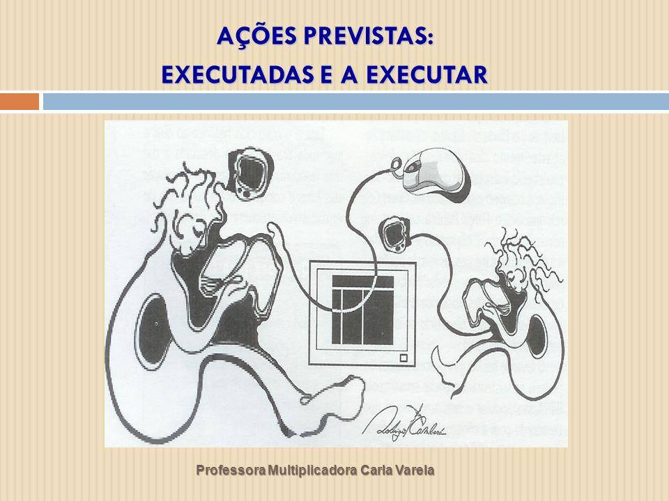 Professora Multiplicadora Carla Varela AÇÕES PREVISTAS: EXECUTADAS E A EXECUTAR