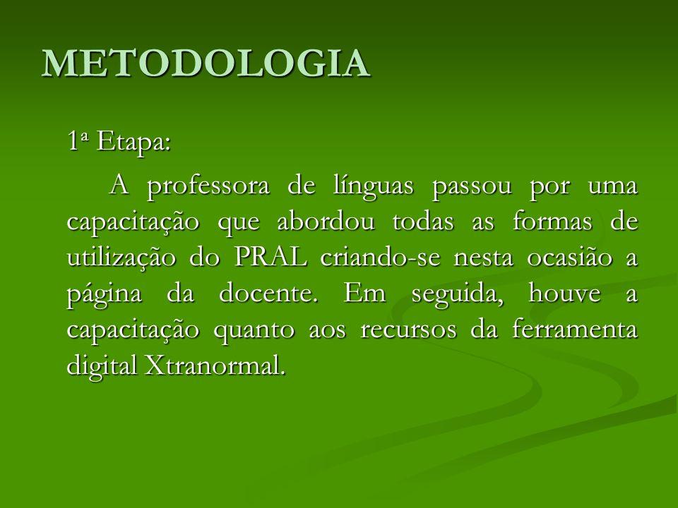 METODOLOGIA 1 a Etapa: A professora de línguas passou por uma capacitação que abordou todas as formas de utilização do PRAL criando-se nesta ocasião a