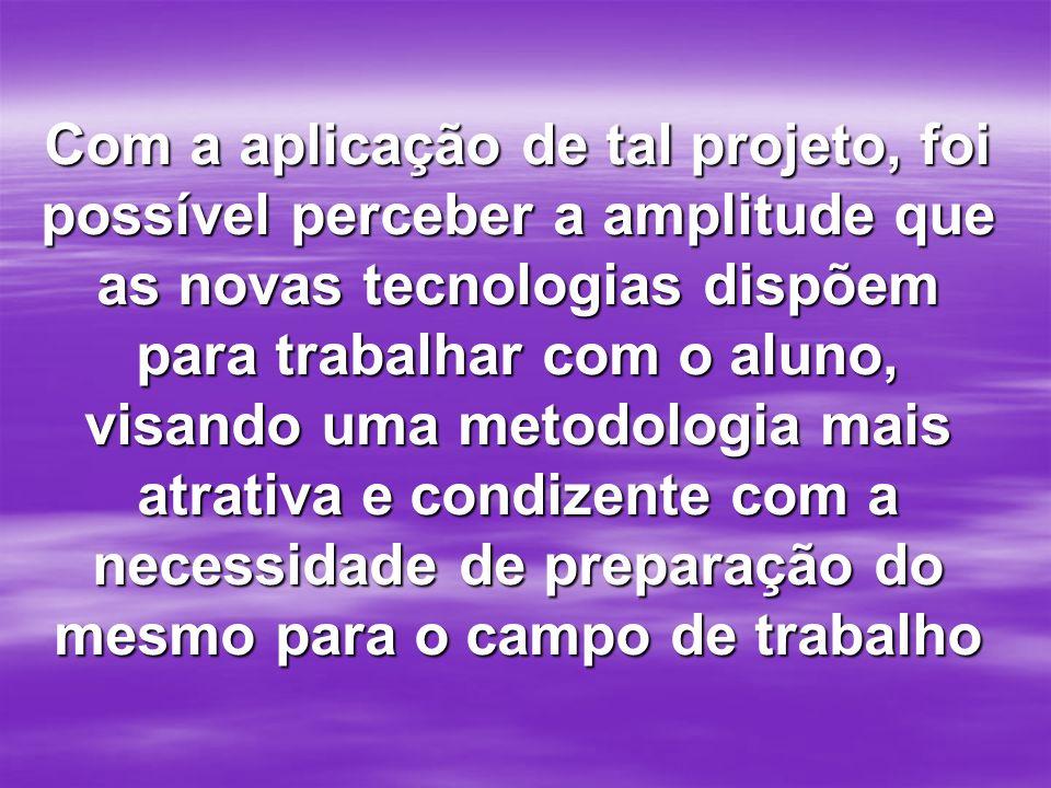 Com a aplicação de tal projeto, foi possível perceber a amplitude que as novas tecnologias dispõem para trabalhar com o aluno, visando uma metodologia