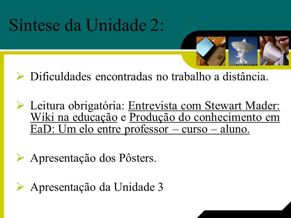 Síntese da Unidade 2: Dificuldades encontradas no trabalho a distância. Leitura obrigatória: Entrevista com Stewart Mader: Wiki na educação e Produção