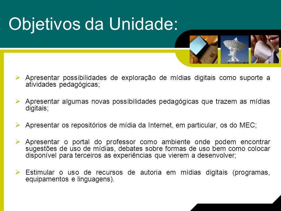 Objetivos da Unidade: Apresentar possibilidades de exploração de mídias digitais como suporte a atividades pedagógicas; Apresentar algumas novas possi
