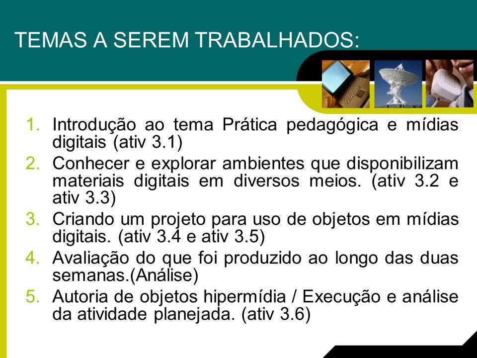 TEMAS A SEREM TRABALHADOS: 1.Introdução ao tema Prática pedagógica e mídias digitais (ativ 3.1) 2.Conhecer e explorar ambientes que disponibilizam mat
