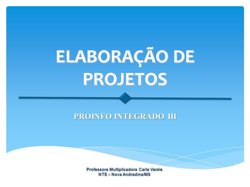 ELABORAÇÃO DE PROJETOS PROINFO INTEGRADO III Professora Multiplicadora Carla Varela NTE – Nova Andradina/MS