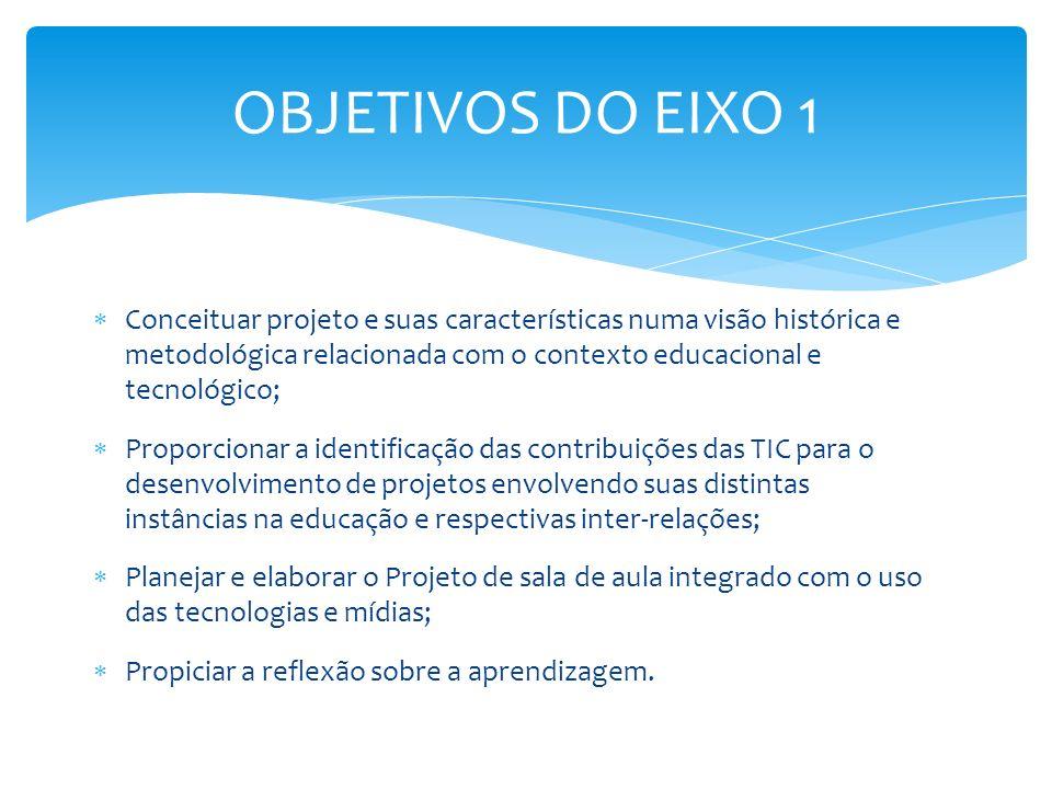 Conceituar projeto e suas características numa visão histórica e metodológica relacionada com o contexto educacional e tecnológico; Proporcionar a ide