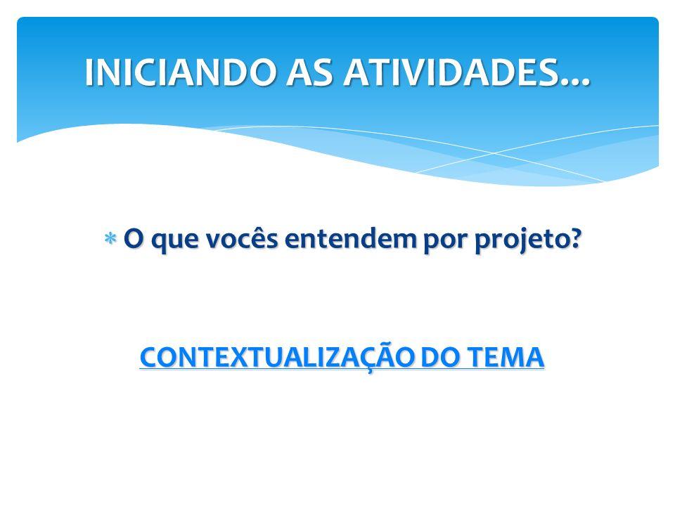 O que vocês entendem por projeto? O que vocês entendem por projeto? CONTEXTUALIZAÇÃO DO TEMA CONTEXTUALIZAÇÃO DO TEMA INICIANDO AS ATIVIDADES...