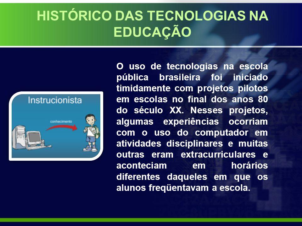 HISTÓRICO DAS TECNOLOGIAS NA EDUCAÇÃO O uso de tecnologias na escola pública brasileira foi iniciado timidamente com projetos pilotos em escolas no final dos anos 80 do século XX.