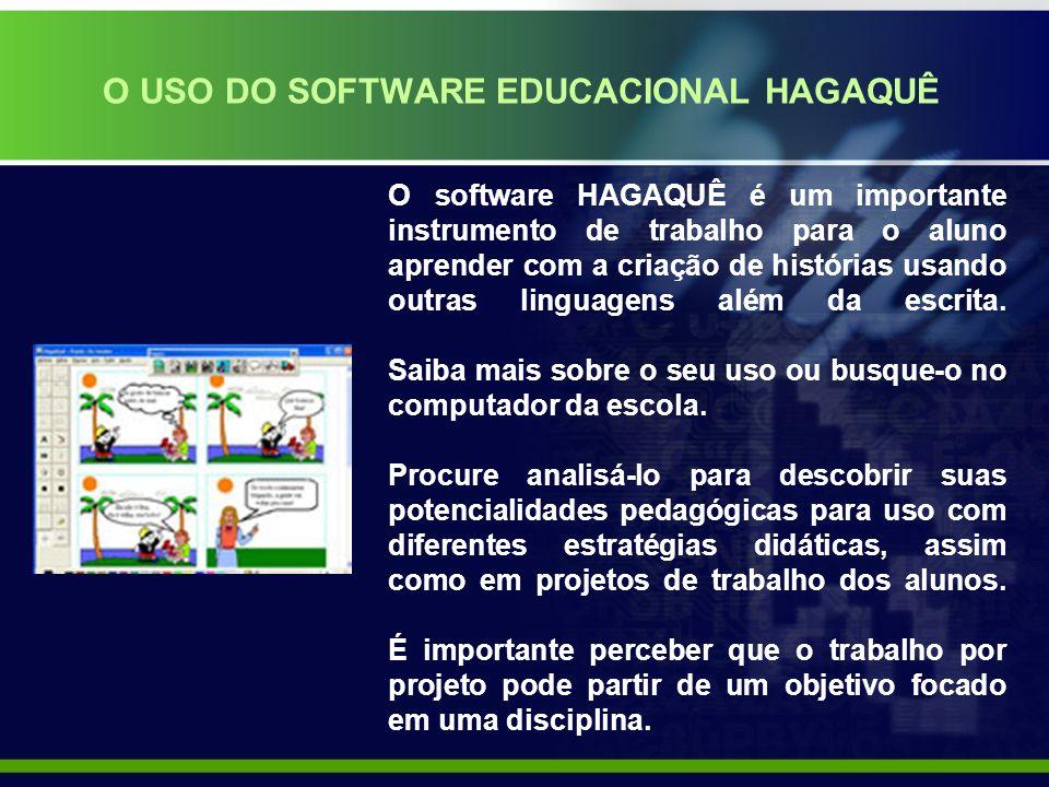 O USO DO SOFTWARE EDUCACIONAL HAGAQUÊ O software HAGAQUÊ é um importante instrumento de trabalho para o aluno aprender com a criação de histórias usando outras linguagens além da escrita.