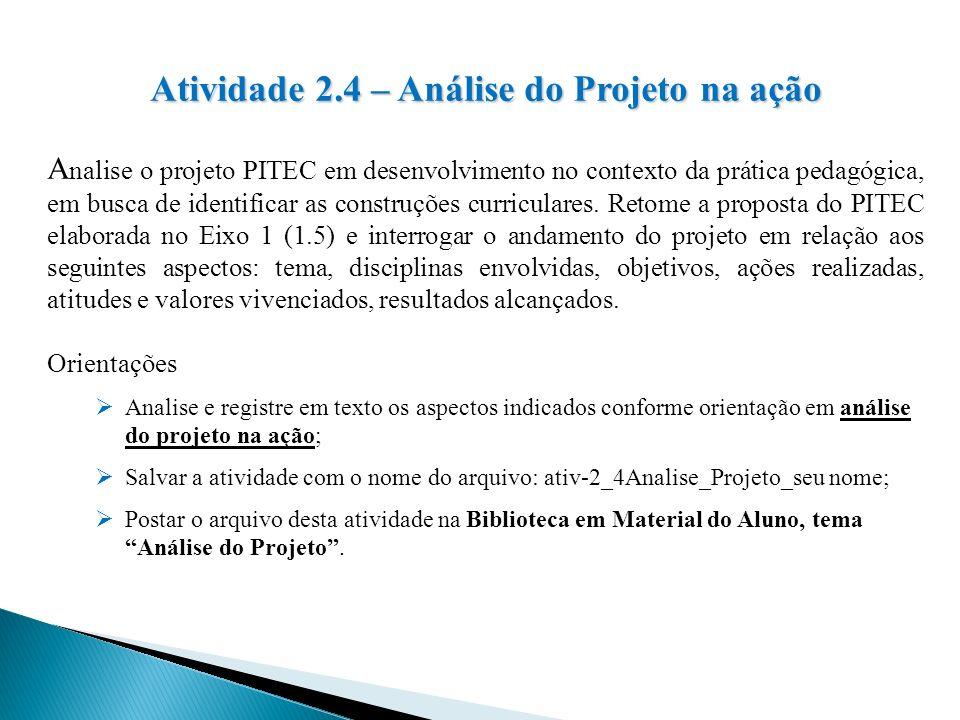 Atividade 2.4 – Análise do Projeto na ação A nalise o projeto PITEC em desenvolvimento no contexto da prática pedagógica, em busca de identificar as c