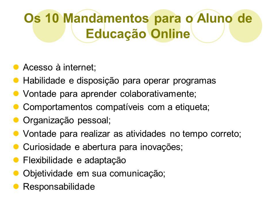Os 10 Mandamentos para o Aluno de Educação Online Acesso à internet; Habilidade e disposição para operar programas Vontade para aprender colaborativam