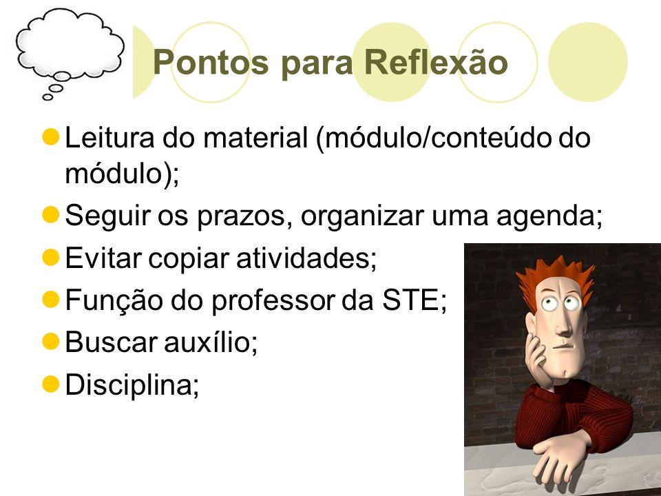 Pontos para Reflexão Leitura do material (módulo/conteúdo do módulo); Seguir os prazos, organizar uma agenda; Evitar copiar atividades; Função do prof