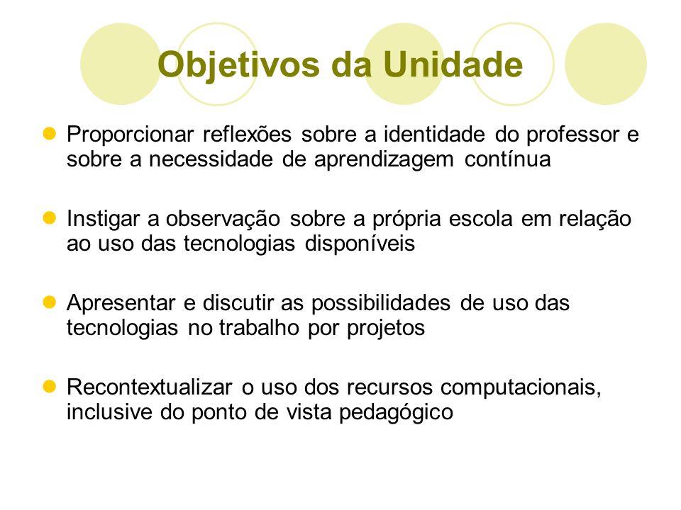 Objetivos da Unidade Proporcionar reflexões sobre a identidade do professor e sobre a necessidade de aprendizagem contínua Instigar a observação sobre