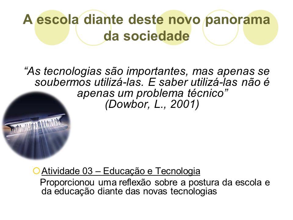 A escola diante deste novo panorama da sociedade As tecnologias são importantes, mas apenas se soubermos utilizá-las. E saber utilizá-las não é apenas