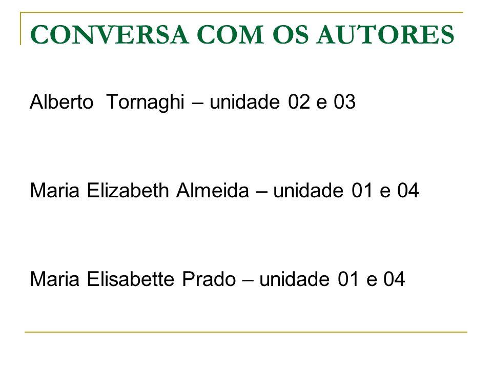 CONVERSA COM OS AUTORES Alberto Tornaghi – unidade 02 e 03 Maria Elizabeth Almeida – unidade 01 e 04 Maria Elisabette Prado – unidade 01 e 04