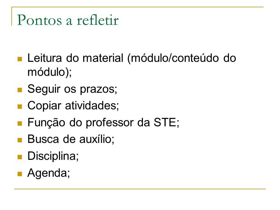 Pontos a refletir Leitura do material (módulo/conteúdo do módulo); Seguir os prazos; Copiar atividades; Função do professor da STE; Busca de auxílio;