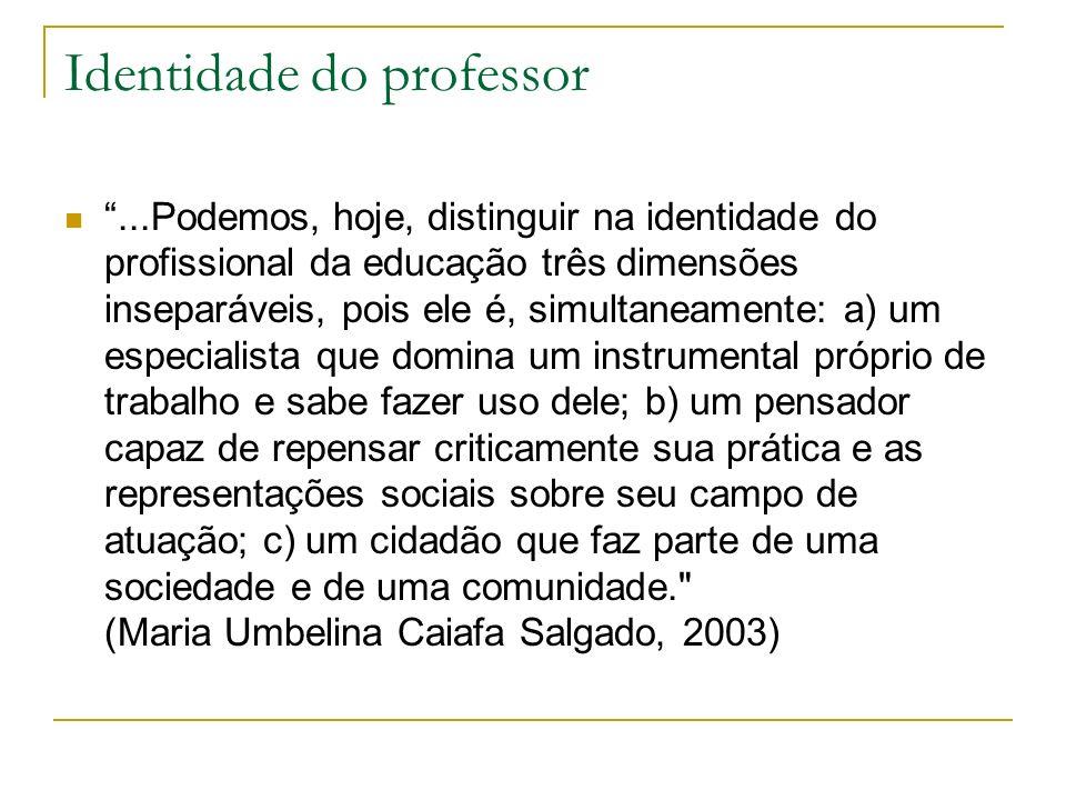 Identidade do professor...Podemos, hoje, distinguir na identidade do profissional da educação três dimensões inseparáveis, pois ele é, simultaneamente