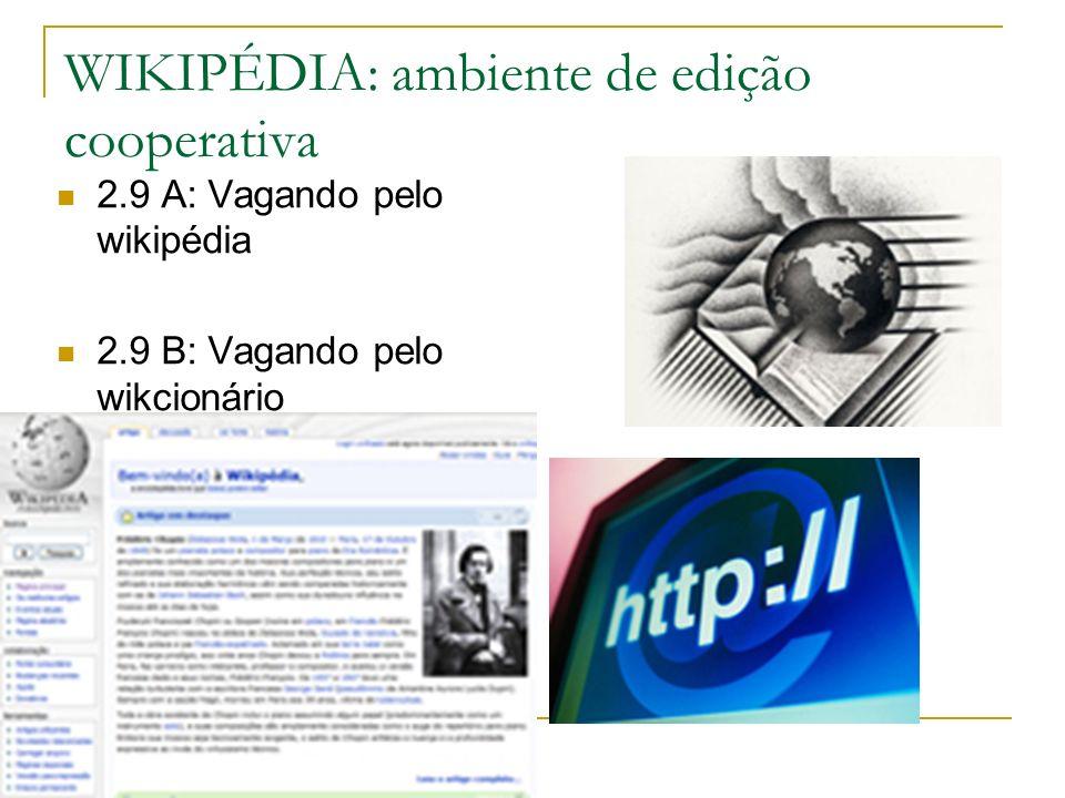 WIKIPÉDIA: ambiente de edição cooperativa 2.9 A: Vagando pelo wikipédia 2.9 B: Vagando pelo wikcionário