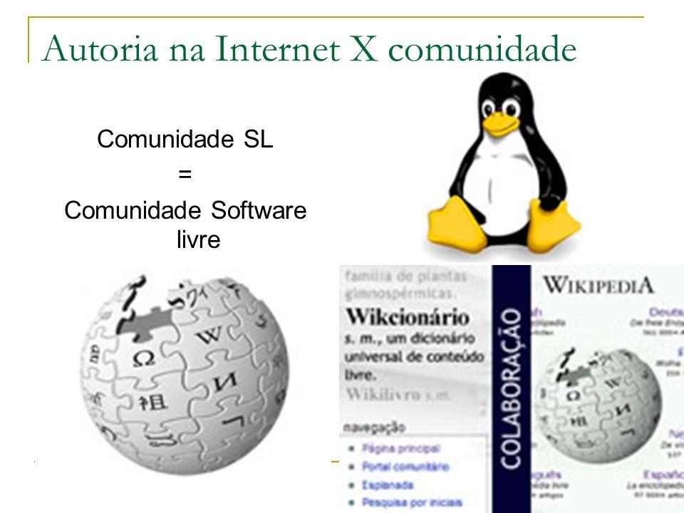 Autoria na Internet X comunidade Comunidade SL = Comunidade Software livre