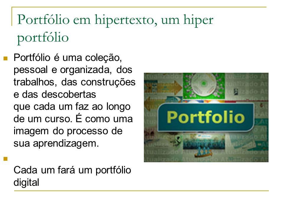 Portfólio em hipertexto, um hiper portfólio Portfólio é uma coleção, pessoal e organizada, dos trabalhos, das construções e das descobertas que cada u