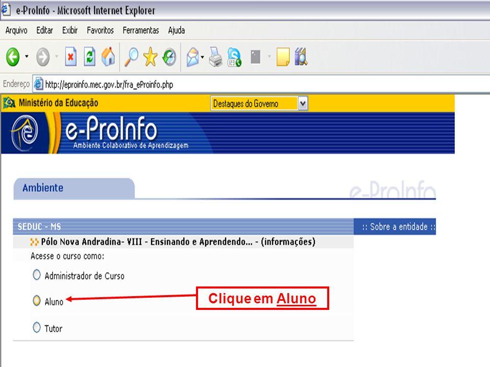 Clique em Aluno