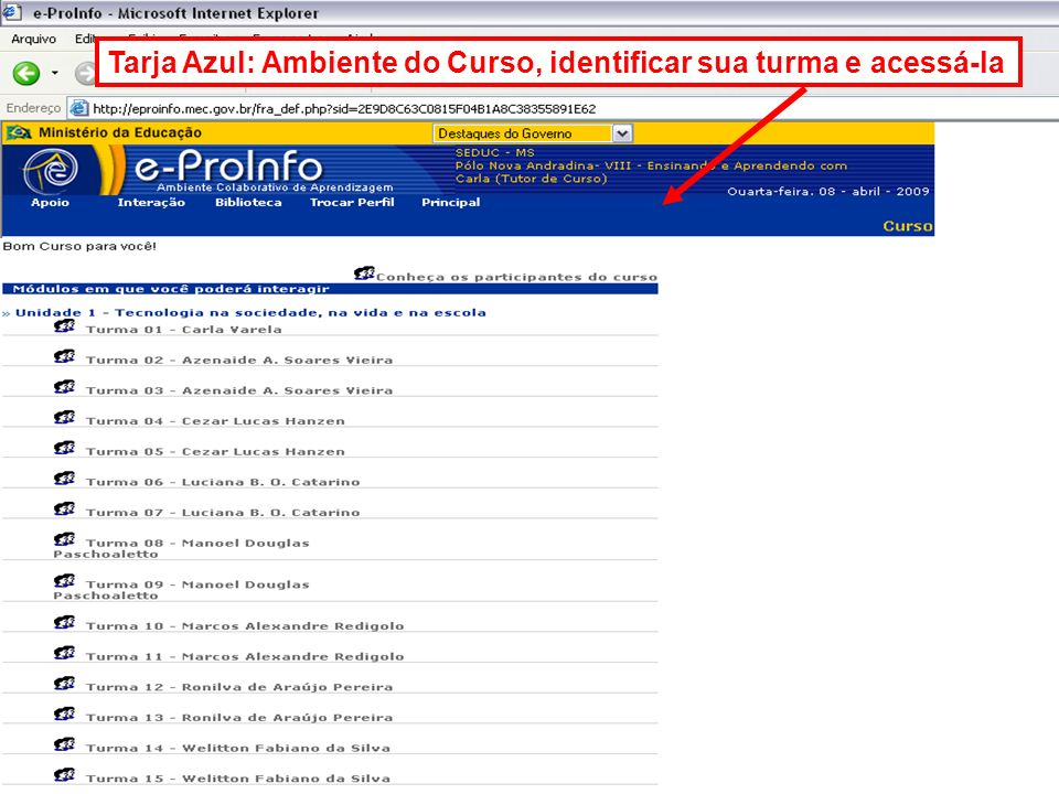 Tarja Azul: Ambiente do Curso, identificar sua turma e acessá-la