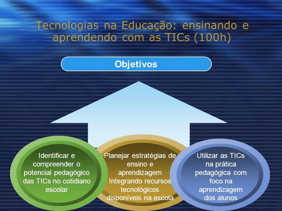 Objetivos Tecnologias na Educação: ensinando e aprendendo com as TICs (100h) Identificar e compreender o potencial pedagógico das TICs no cotidiano escolar Planejar estratégias de ensino e aprendizagem Integrando recursos tecnológicos disponíveis na escola Utilizar as TICs na prática pedagógica com foco na aprendizagem dos alunos