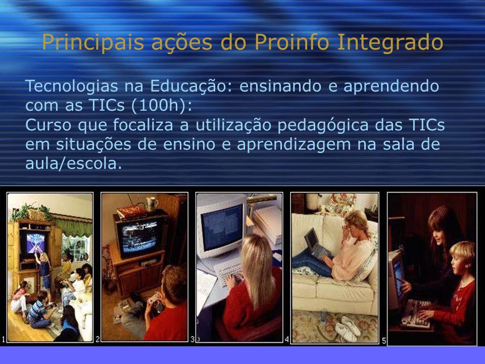 Principais ações do Proinfo Integrado Tecnologias na Educação: ensinando e aprendendo com as TICs (100h): Curso que focaliza a utilização pedagógica das TICs em situações de ensino e aprendizagem na sala de aula/escola.