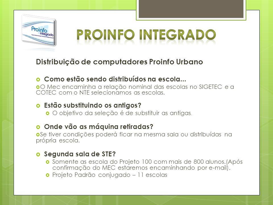 Distribuição de computadores Proinfo Urbano Como estão sendo distribuídos na escola... O Mec encaminha a relação nominal das escolas no SIGETEC e a CO