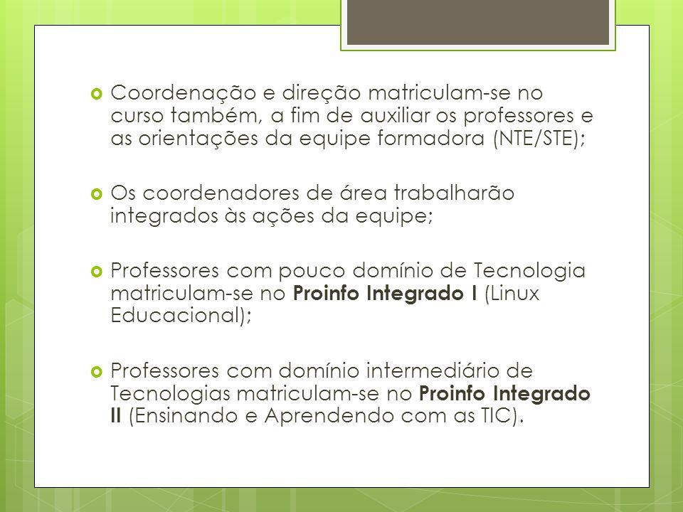 Coordenação e direção matriculam-se no curso também, a fim de auxiliar os professores e as orientações da equipe formadora (NTE/STE); Os coordenadores de área trabalharão integrados às ações da equipe; Professores com pouco domínio de Tecnologia matriculam-se no Proinfo Integrado I (Linux Educacional); Professores com domínio intermediário de Tecnologias matriculam-se no Proinfo Integrado II (Ensinando e Aprendendo com as TIC).