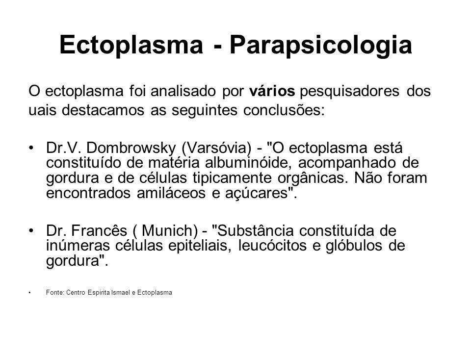 Ectoplasma - Parapsicologia O ectoplasma foi analisado por vários pesquisadores dos uais destacamos as seguintes conclusões: Dr.V. Dombrowsky (Varsóvi