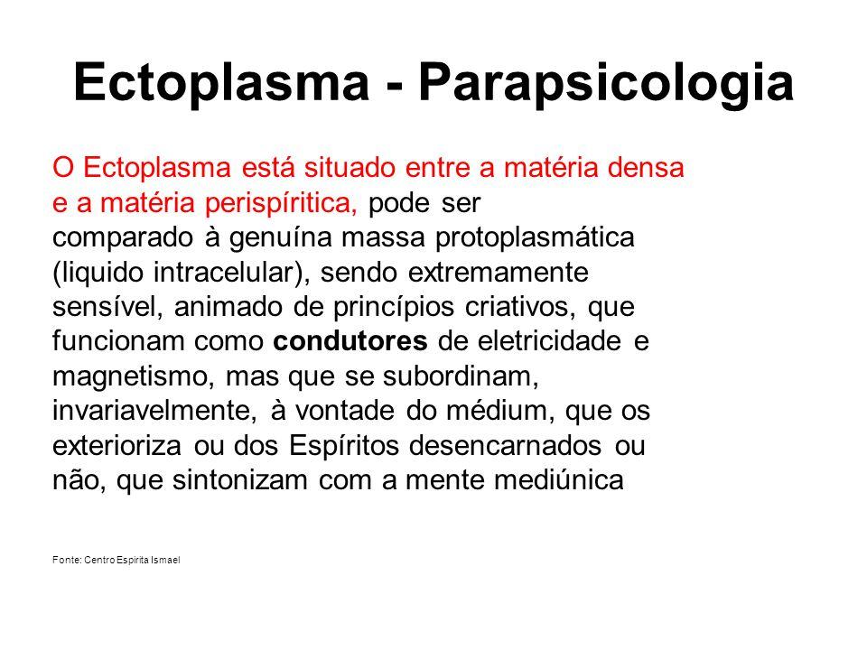 Ectoplasma - Parapsicologia O Ectoplasma está situado entre a matéria densa e a matéria perispíritica, pode ser comparado à genuína massa protoplasmát