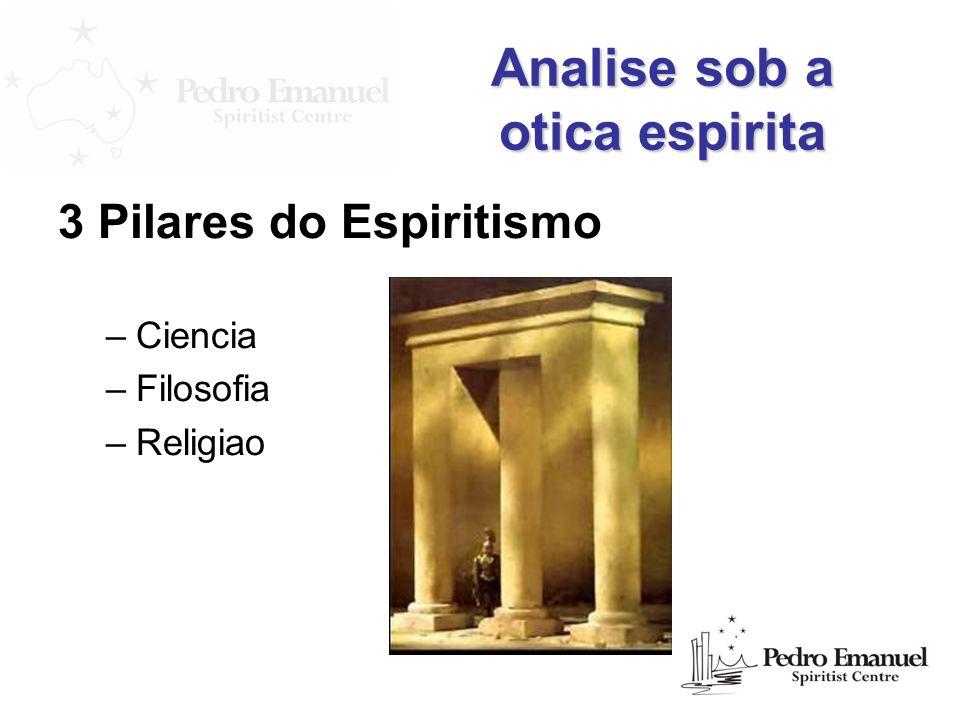 Analise sob a otica espirita 3 Pilares do Espiritismo –Ciencia –Filosofia –Religiao