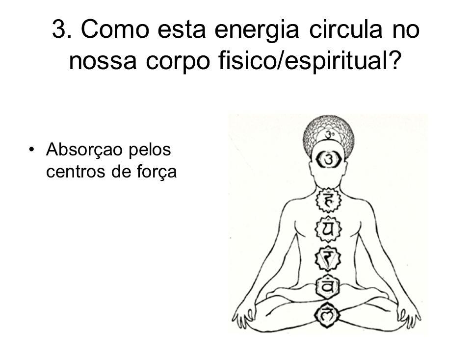 3. Como esta energia circula no nossa corpo fisico/espiritual? Absorçao pelos centros de força