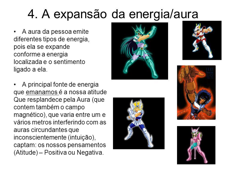4. A expansão da energia/aura A aura da pessoa emite diferentes tipos de energia, pois ela se expande conforme a energia localizada e o sentimento lig
