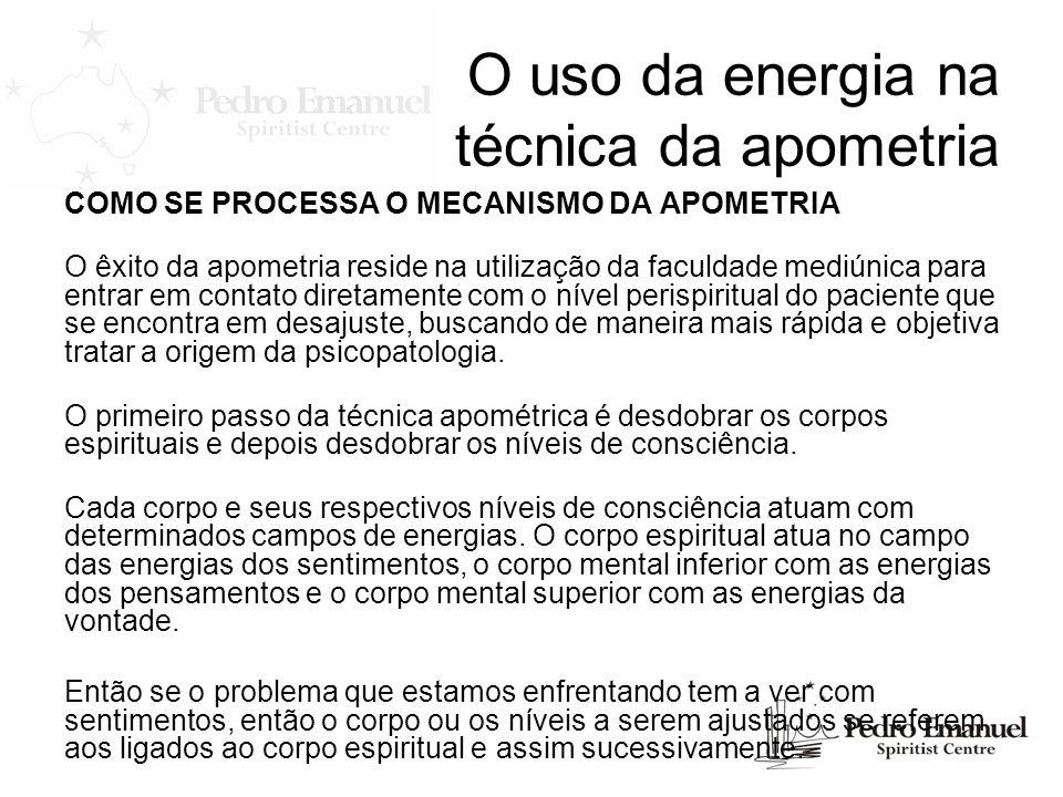O uso da energia na técnica da apometria COMO SE PROCESSA O MECANISMO DA APOMETRIA O êxito da apometria reside na utilização da faculdade mediúnica pa