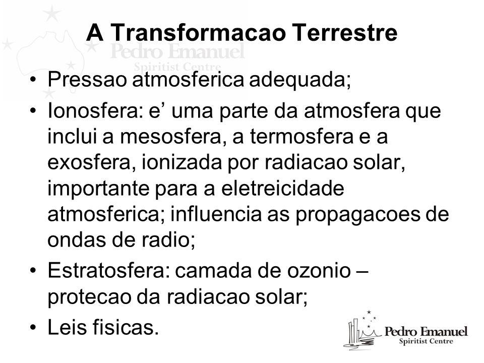 A Transformacao Terrestre Pressao atmosferica adequada; Ionosfera: e uma parte da atmosfera que inclui a mesosfera, a termosfera e a exosfera, ionizad