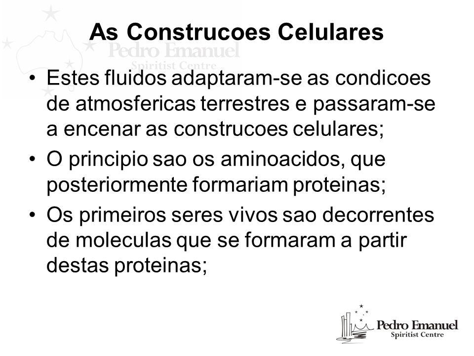 As Construcoes Celulares Estes fluidos adaptaram-se as condicoes de atmosfericas terrestres e passaram-se a encenar as construcoes celulares; O princi