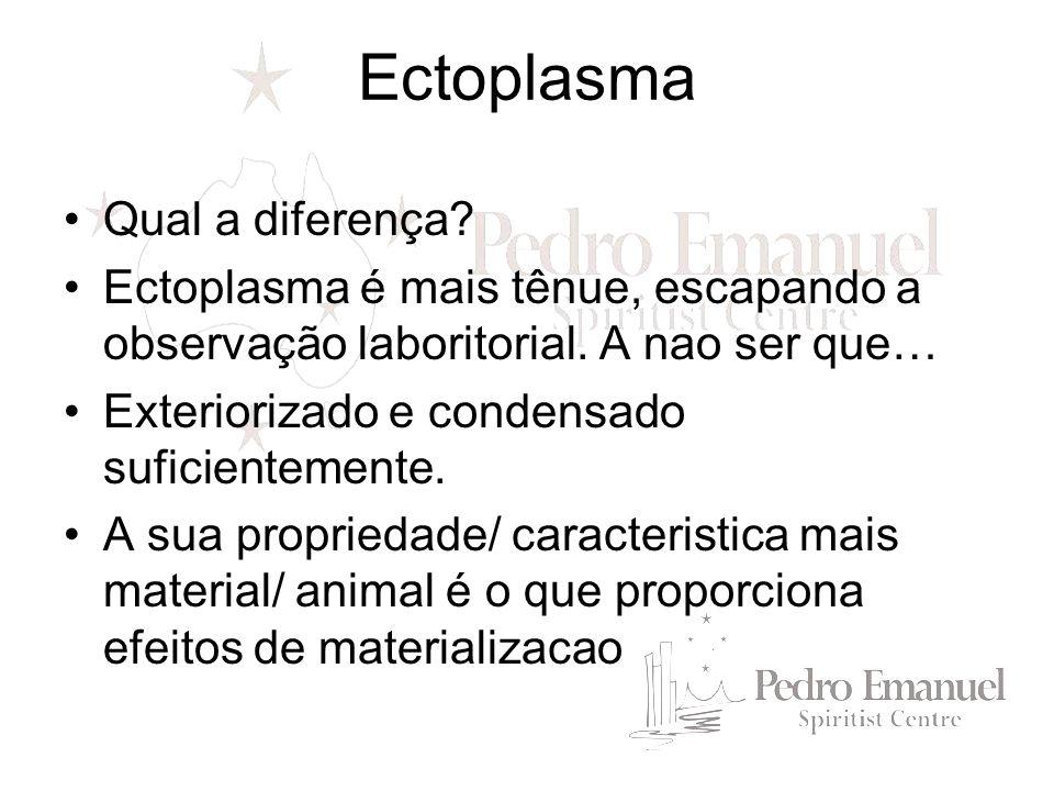 Qual a diferença? Ectoplasma é mais tênue, escapando a observação laboritorial. A nao ser que… Exteriorizado e condensado suficientemente. A sua propr