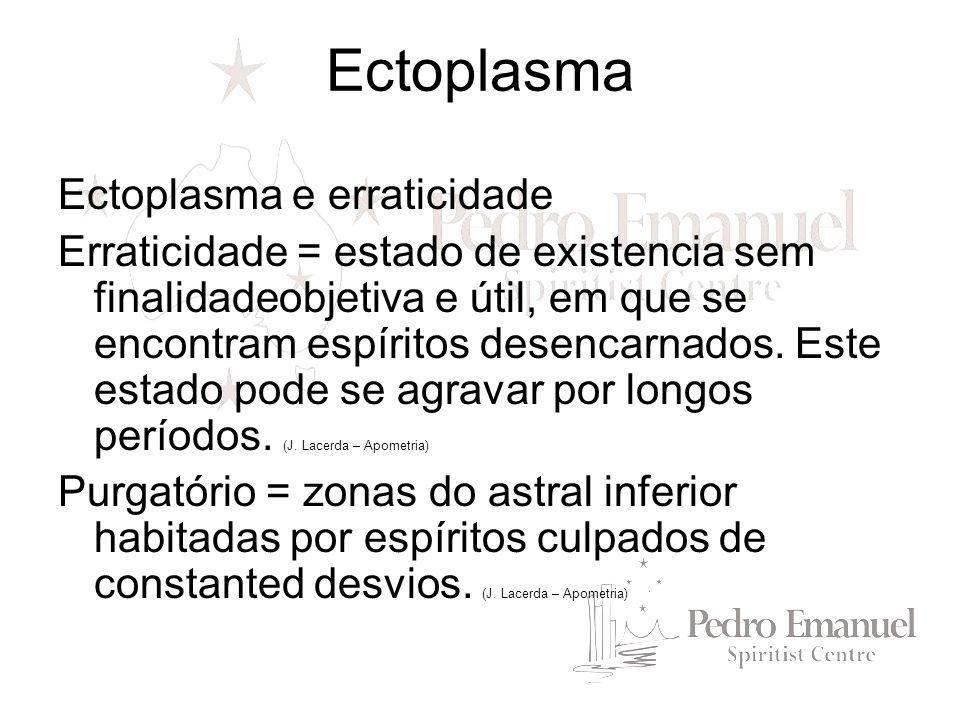 Ectoplasma e erraticidade Erraticidade = estado de existencia sem finalidadeobjetiva e útil, em que se encontram espíritos desencarnados. Este estado