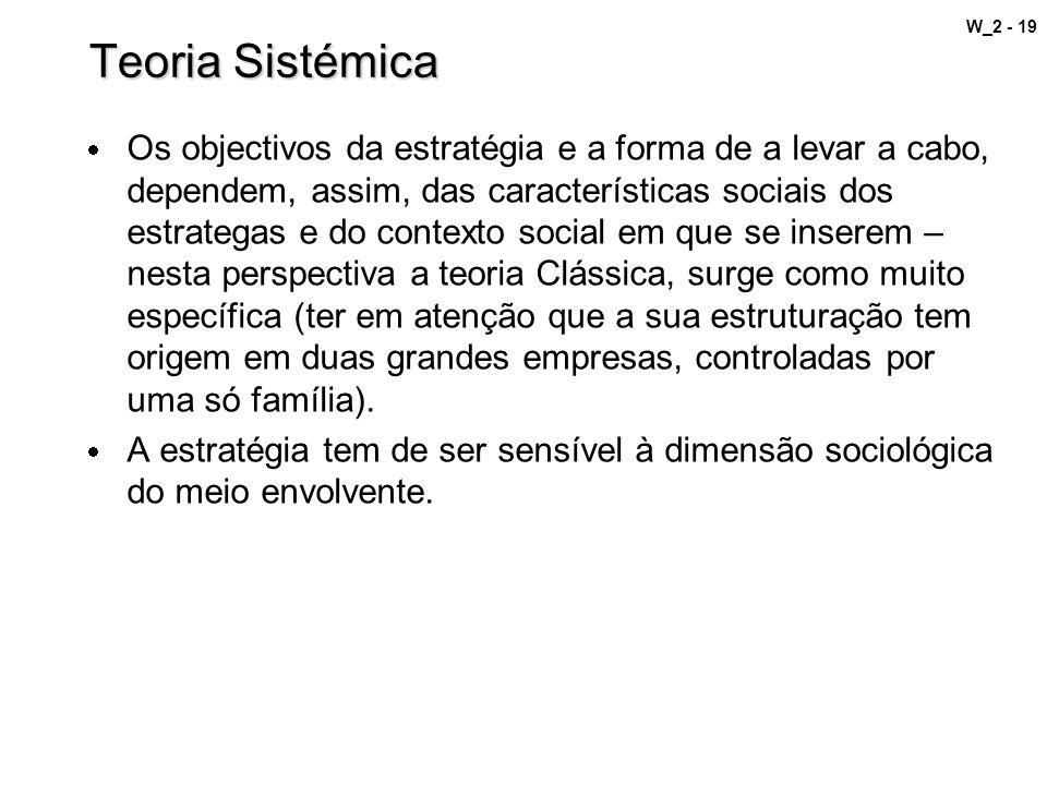 W_2 - 19 Teoria Sistémica Os objectivos da estratégia e a forma de a levar a cabo, dependem, assim, das características sociais dos estrategas e do co