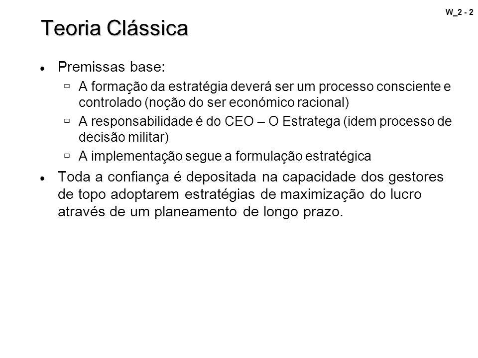 W_2 - 2 Teoria Clássica Premissas base: A formação da estratégia deverá ser um processo consciente e controlado (noção do ser económico racional) A re