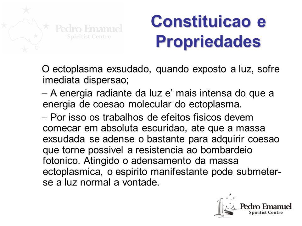 Constituicao e Propriedades O ectoplasma exsudado, quando exposto a luz, sofre imediata dispersao; – A energia radiante da luz e mais intensa do que a