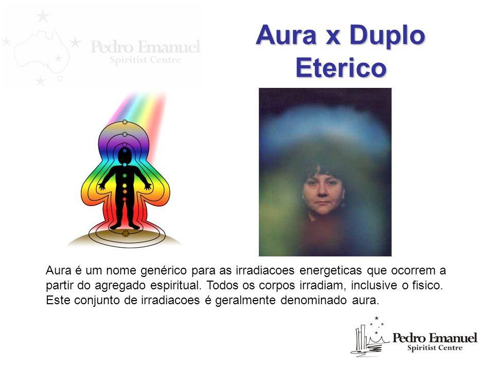 Aura x Duplo Eterico Aura é um nome genérico para as irradiacoes energeticas que ocorrem a partir do agregado espiritual. Todos os corpos irradiam, in